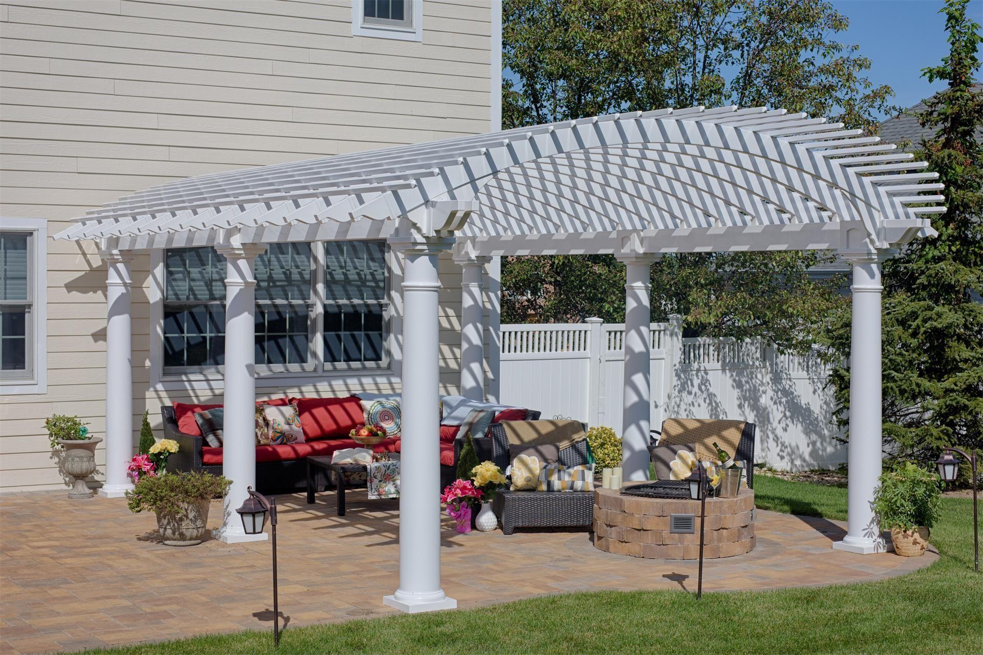 Amish Arcadian Vinyl Pergola Kit Buildingapergola Outdoor Pergola Vinyl Pergola Pergola