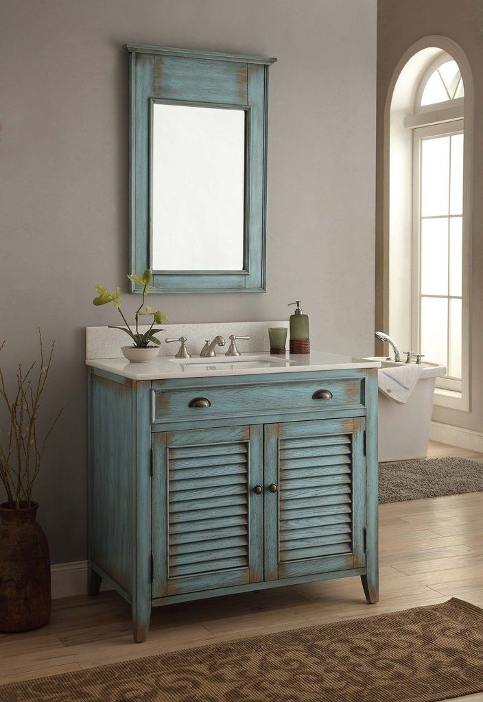 36 Benton Collection Distress Blue Abbeville Bathroom Sink Vanity