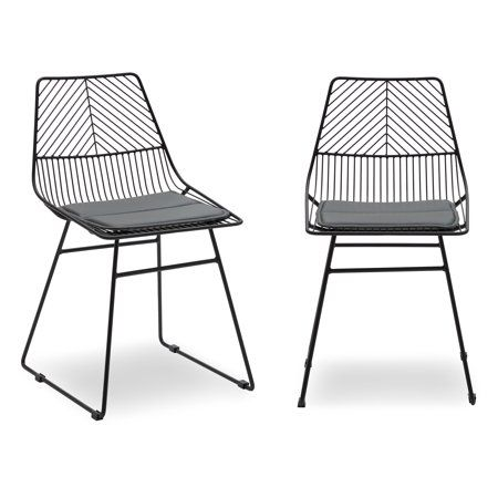 Cool Scandinavian Modrn Metal Dining Chair With Cushion Set Of 2 Ibusinesslaw Wood Chair Design Ideas Ibusinesslaworg