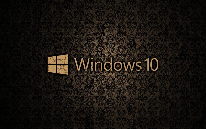 Download Wallpapers Windows 10 Vintage Pattern Logo Brown Background Windows 10 Logo Microsoft Besthqwallpapers Com Wallpaper Windows 10 Windows 10 Logo Windows 10