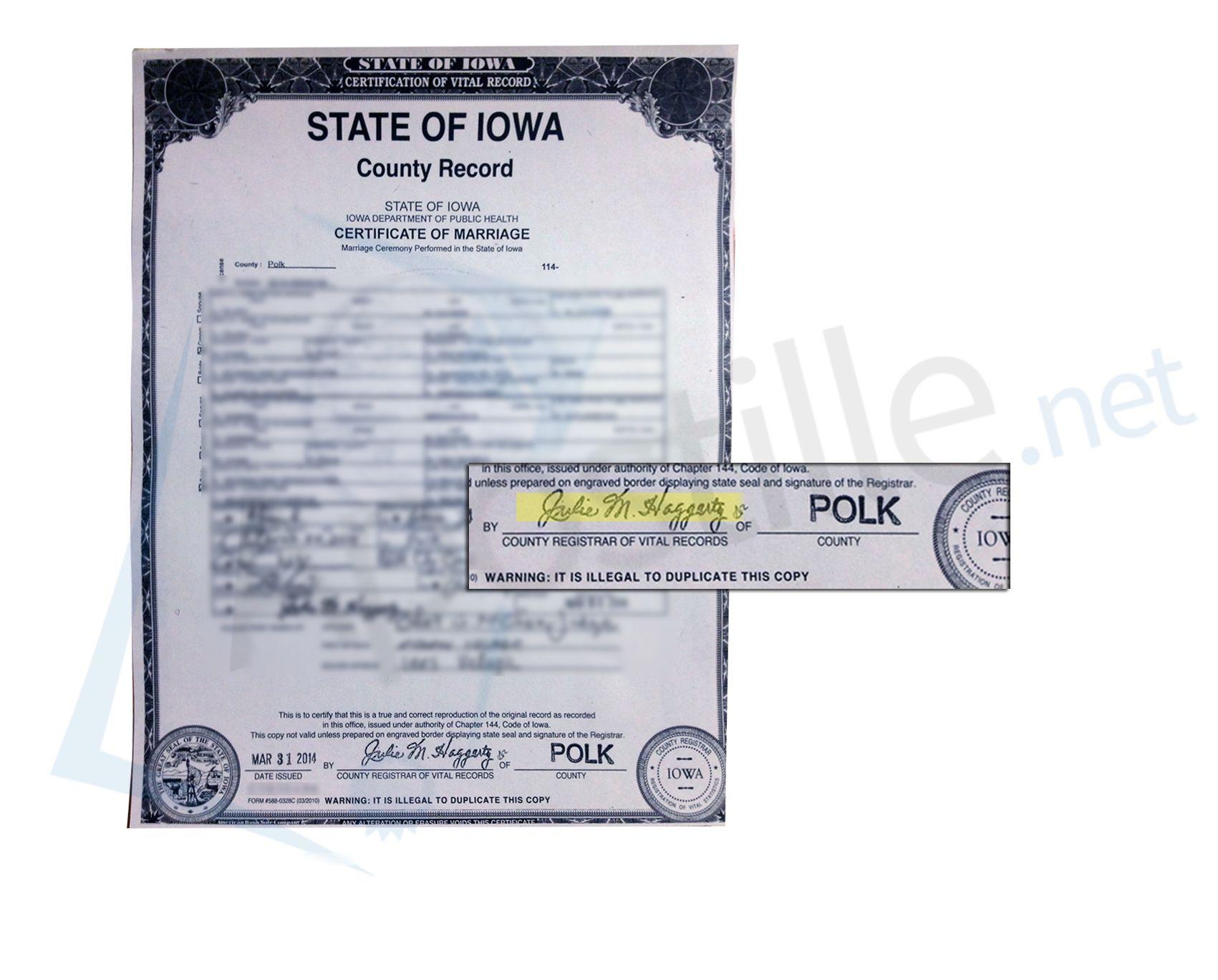 polk iowa county marriage records