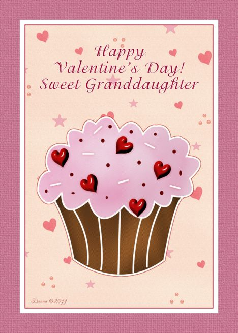 Granddaughter Happy Valentines Day Cupcake Card Abstract 3d