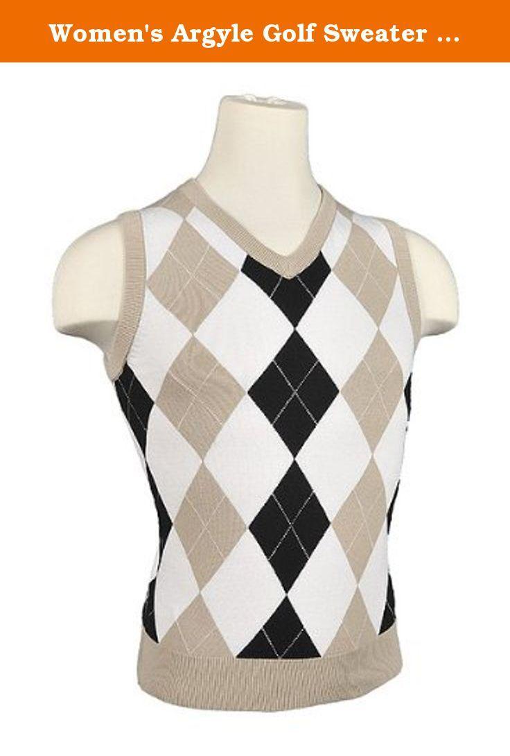 Women's Argyle Golf Sweater Vest - Khaki/White/Black/White ...