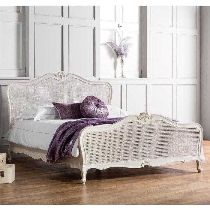 Cecilia Chic Cane King Bed Frame French Style Bed Rattan Bed Upholstered Bed Frame