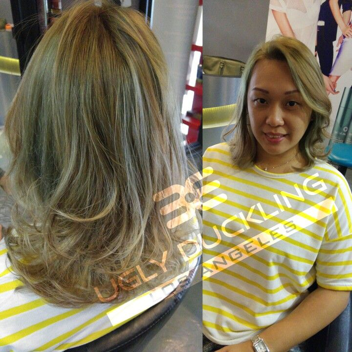 Ash Green Blonde On Asian Hair Hairstyling Sgsalon Salonforhair