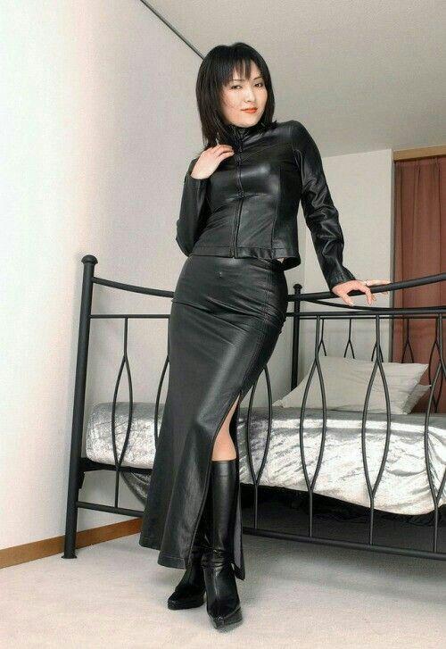 Asian Girl In Bedroom Wearing Black Leather Side Slit Maxi-9515