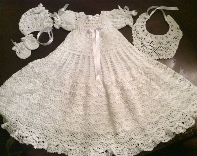 Baby andrea christening gown crochet pdf pattern, baptism gown ...