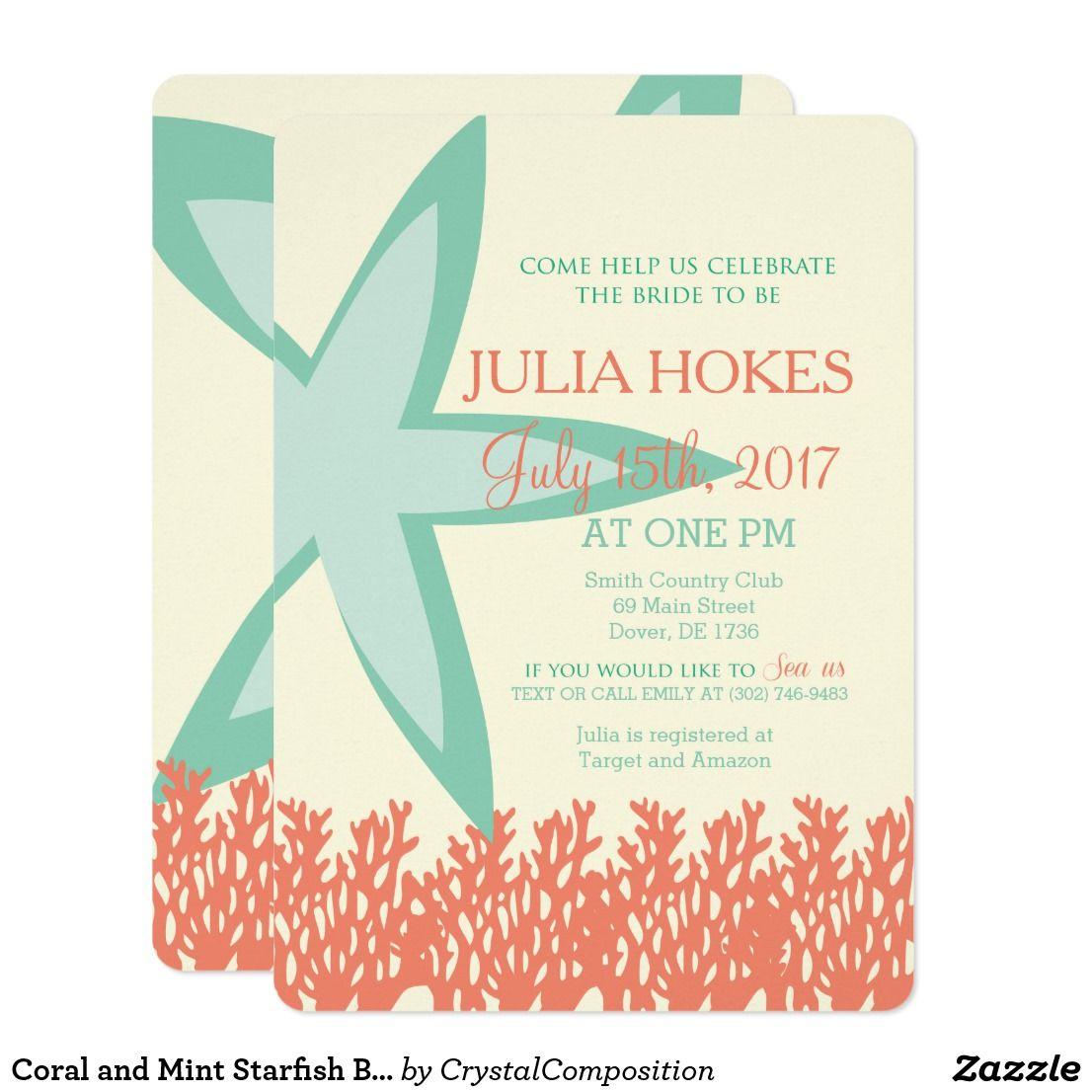 Coral And Mint Starfish Bridal Shower Invitation Zazzle Com