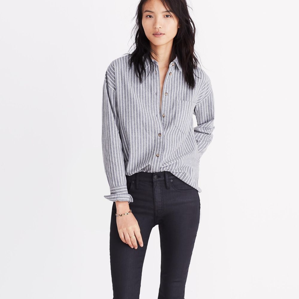 f3c0b4ca6 Madewell Women's Westward Striped Button Down Pocket Flannel Shirt Grey S  $90 #Madewell #ButtonDownShirt #Casual