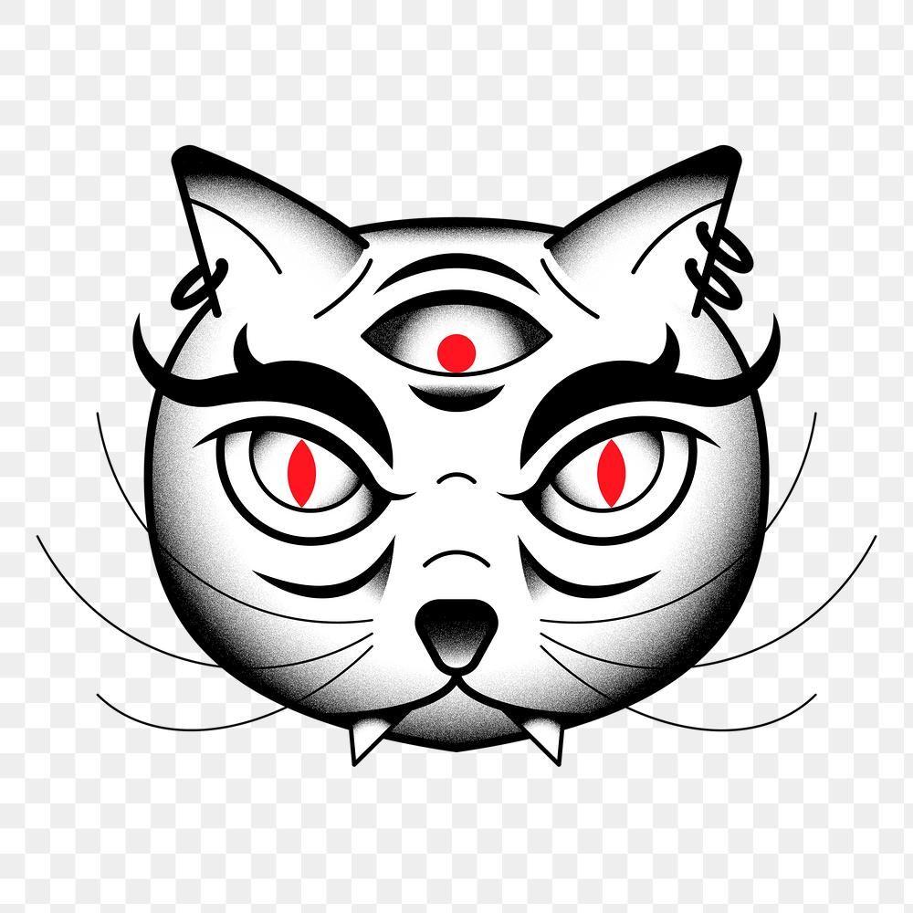 Threeeyed bakeneko Japanese monster cat tattoo design