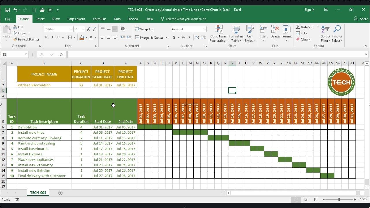 Tech 005 create a quick and simple time line gantt chart in learn how to create a quick and simple time line gantt chart in excel in this video you will use the min formula the max formula the if formula nvjuhfo Gallery