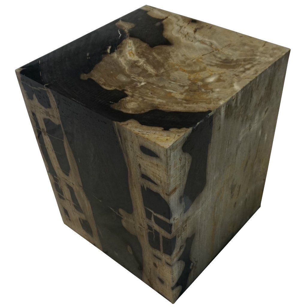 polished square petrified wood stool dimensions 17 w x 17 d x