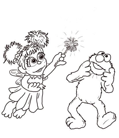 Abby Cadabby And Elmo Coloring Page From Sesame Street Category
