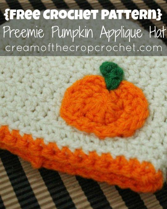 Cream Of The Crop Crochet Preemie Pumpkin Applique Hat Free