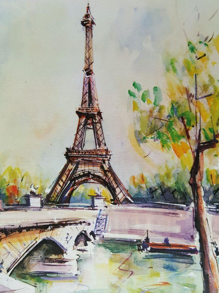 Vintage 60 S Signed Marius Girard Watercolor Print Paris Eiffel