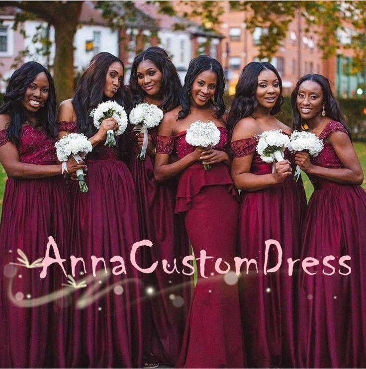 Off Shoulder Cranberry Lace Satin Long Bridesmaid Dress 2018