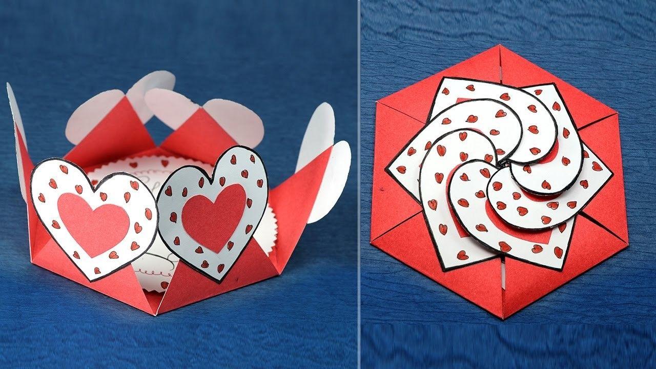 Объемное сердечко из бумаги для открытки, свиньей