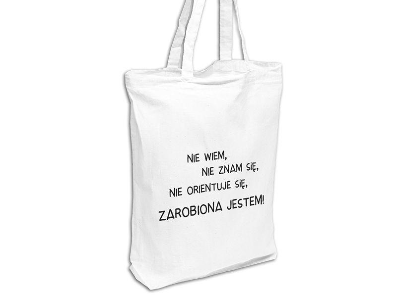 Torba Eko Bawelna Na Zakupy Zarobiona Biala 5215152115 Oficjalne Archiwum Allegro Tote Bag Reusable Tote Bags Tote