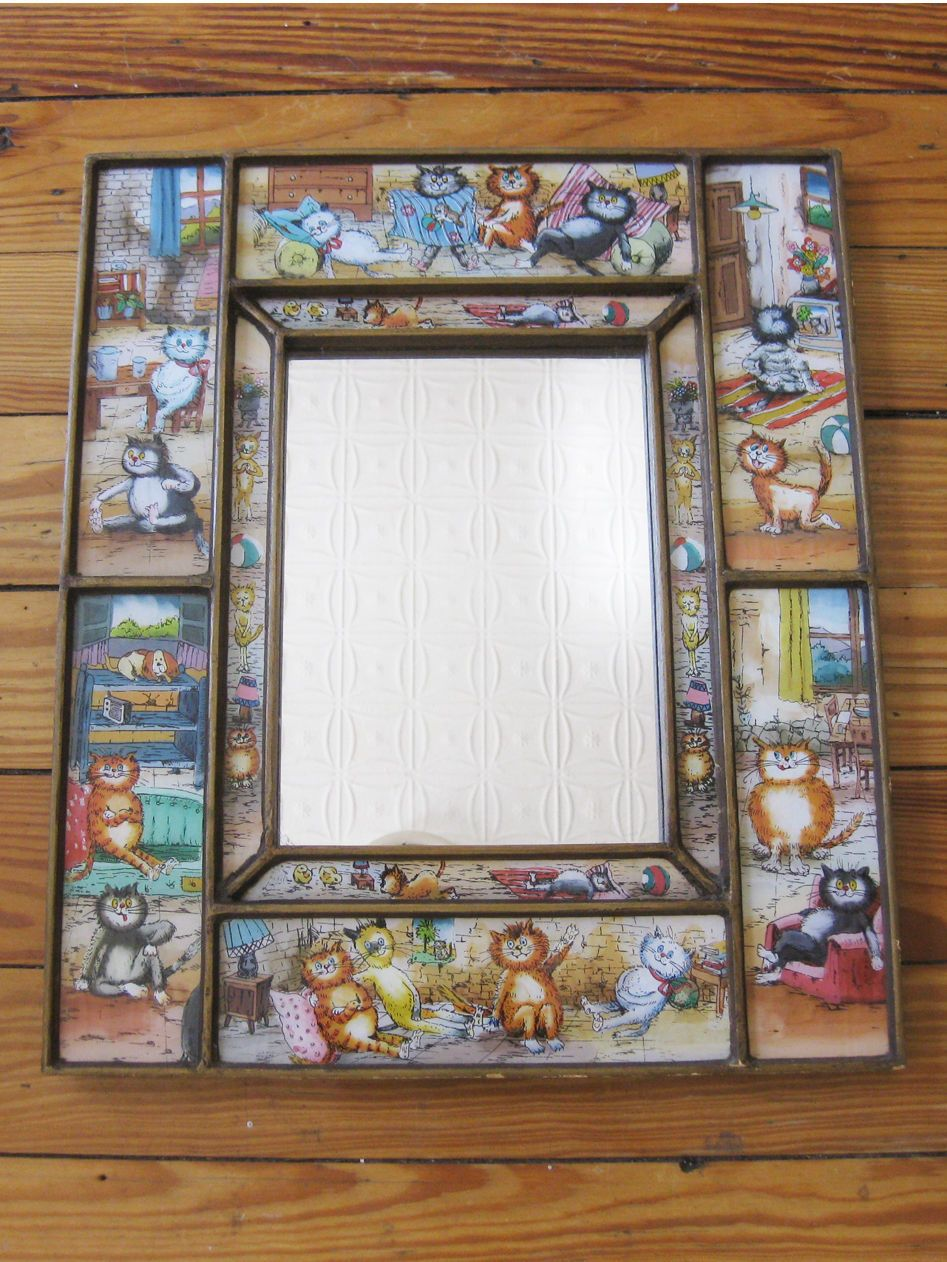 VINTAGE ILLUSTRATED CAT MIRROR paneled wooden frame 15\