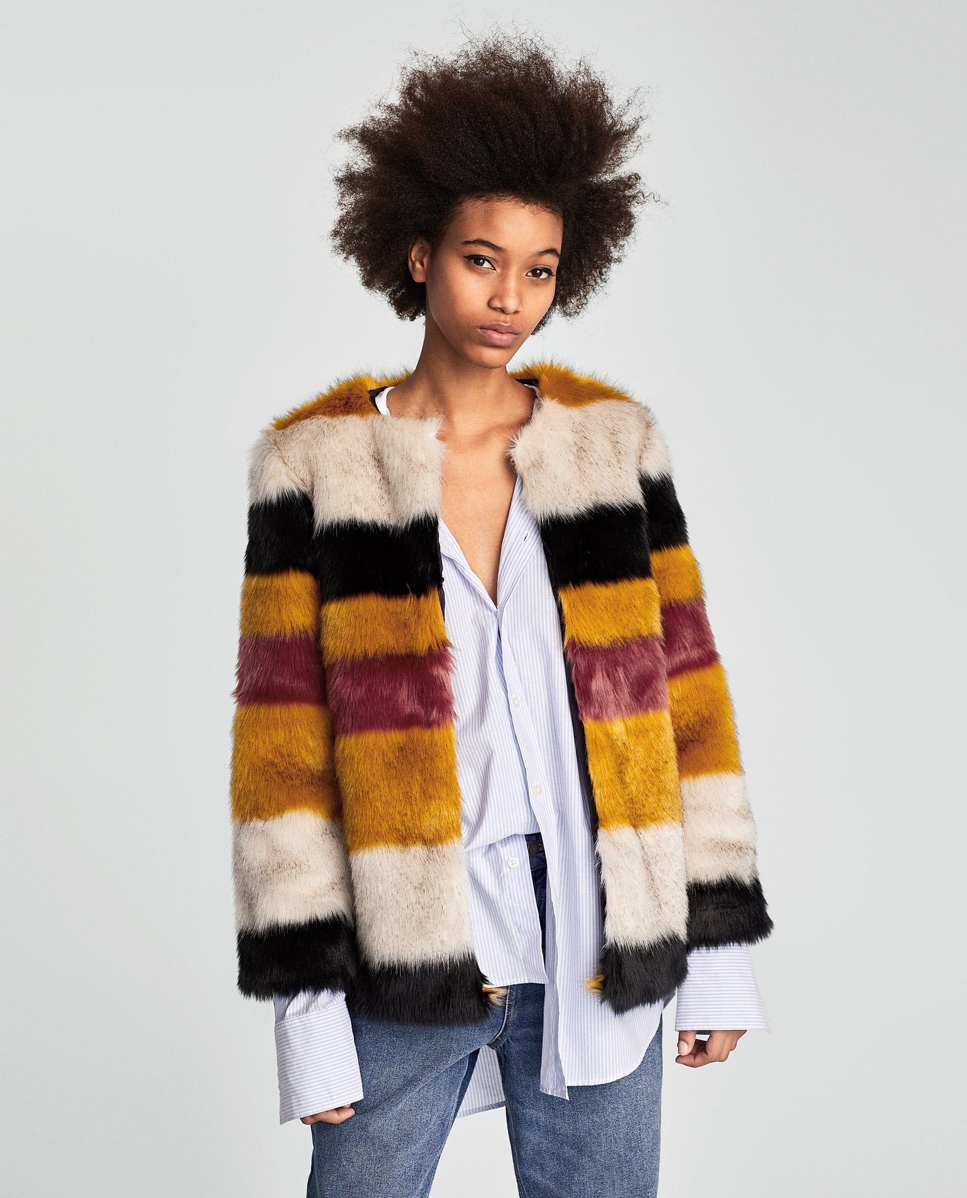 Studded faux leather skirt Stripes fashion, Fur jacket