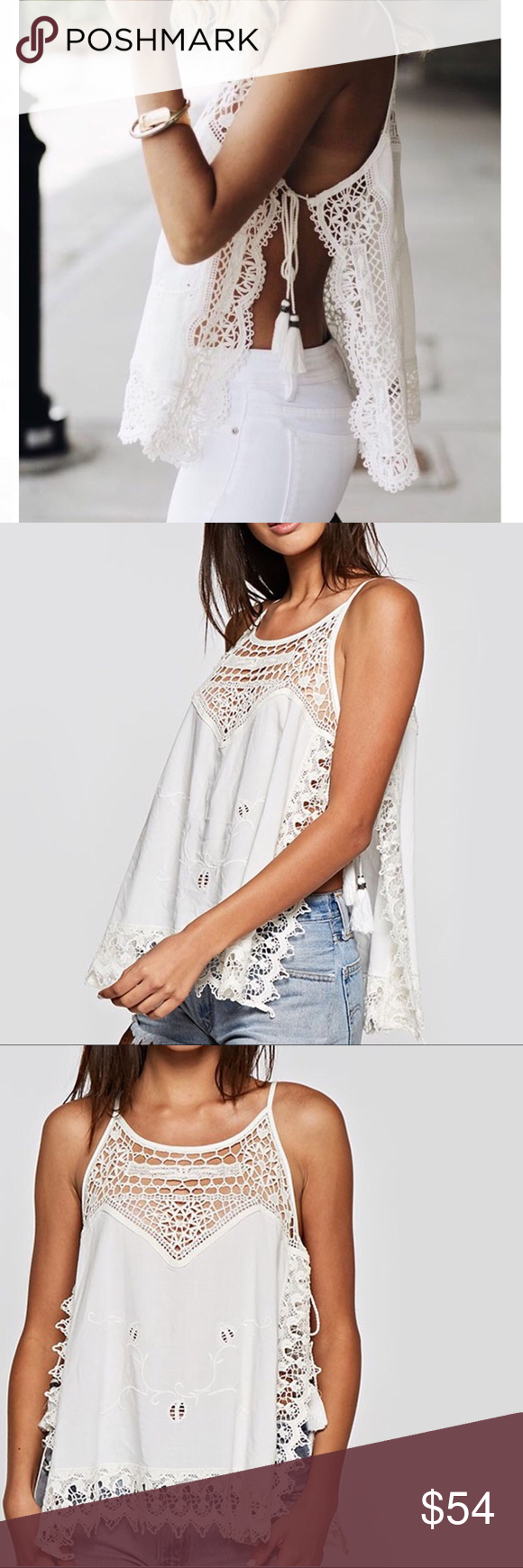 d979572d6ef93e Crochet Embroidered Open Side Tie Apron Top Embroidered Tank Top - Lace  Trim - Tassel Finished Side Ties - Front + Back Embroidery Detail - 100%  Rayon This ...