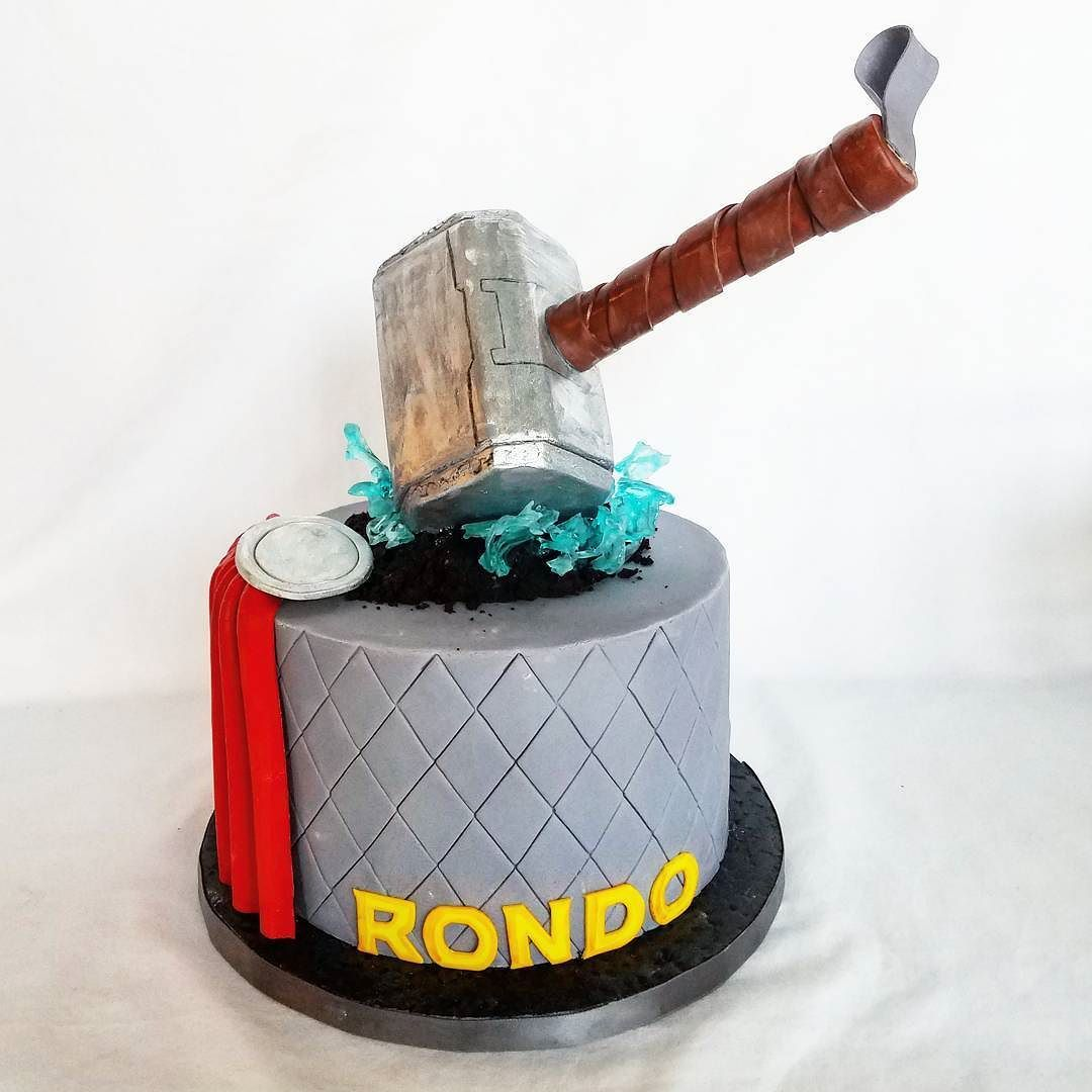 Sensational I Love How This Thor Themed Birthday Cake Turned Out Complete Personalised Birthday Cards Veneteletsinfo