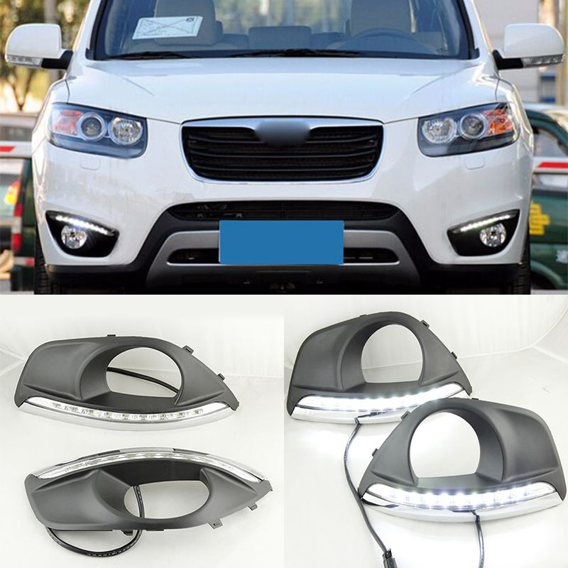 Dimming Style Relay And Waterproof 12v Car Led Drl Daytime Running Lights With Fog Lamp Hole For Hyundai Santa F Hyundai Santa Fe 2010 Hyundai Santa Fe Car Led
