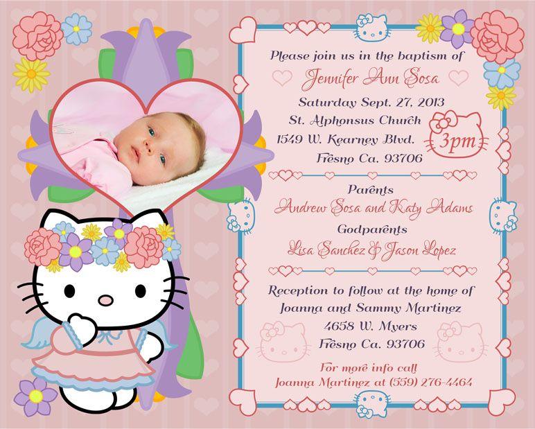 hello kitty baptism invitation my