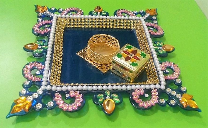 Acrylic Decorative Tray Diy Aarti Tray Decoration  Diy  Pinterest  Decoration And Craft