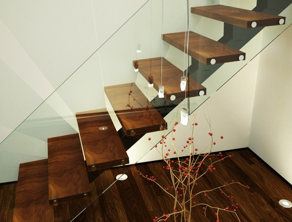 Best Xade Single Spine Half Landing Stairs With Glass Hand 640 x 480