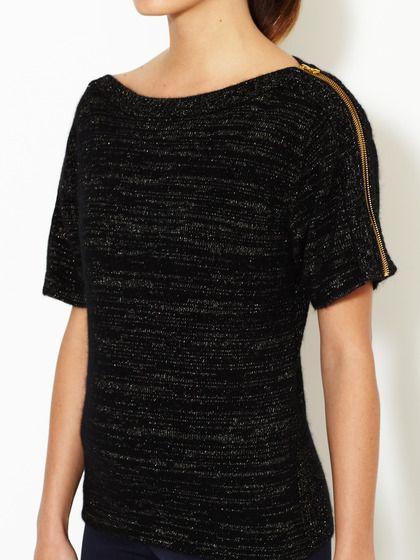 Lurex Shoulder Zip Sweater by Pink Tartan at Gilt