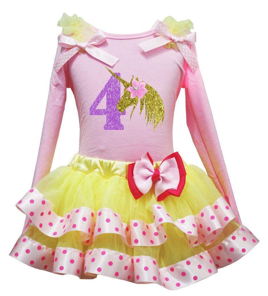 Pink dress shirt for women  Petitebella Birthday Unicorn Pink LS Shirt Yellow Pink Dots Petal