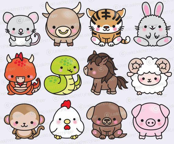 Premium Vector Clipart Kawaii Chinese Zodiac Clipart Kawaii Clip Art Set Chinese Zodiac High Quality Vectors Instant Download Cute Drawings Cute Doodles Kawaii Drawings