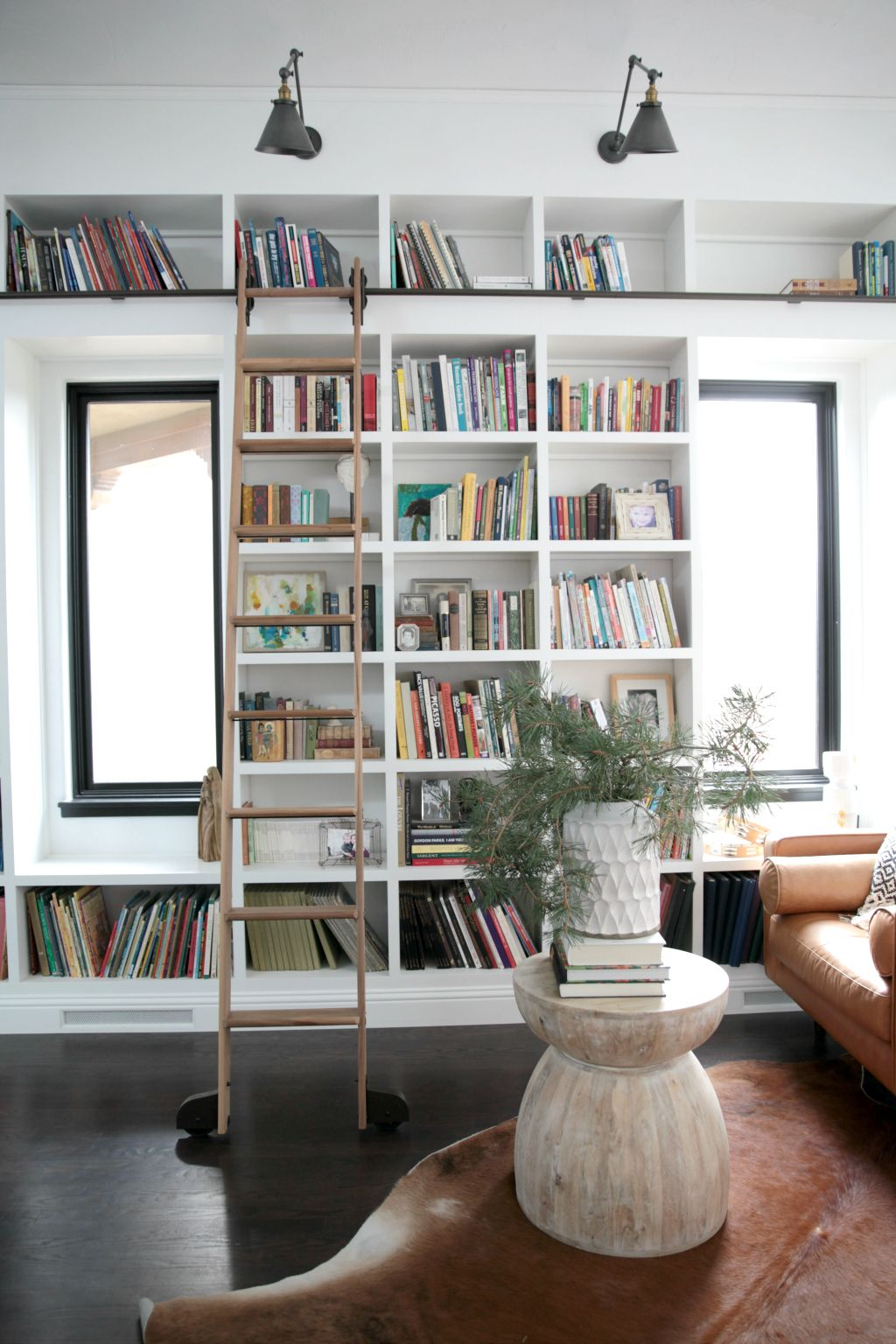 Tall bookcases mid century modern library seasons of home holiday series