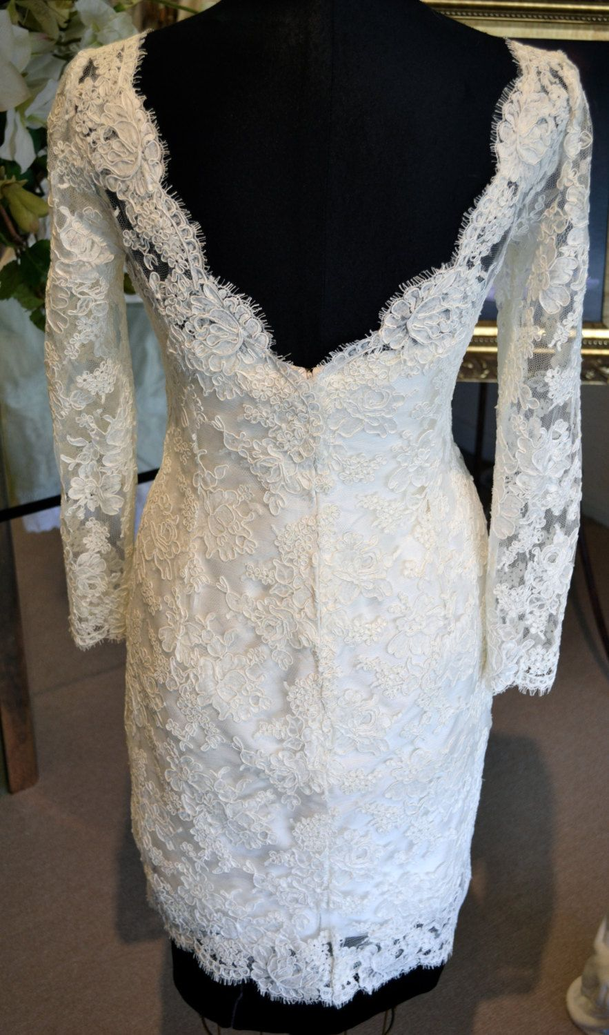 Back couture short wedding dress long sleeve ivory or offwhite