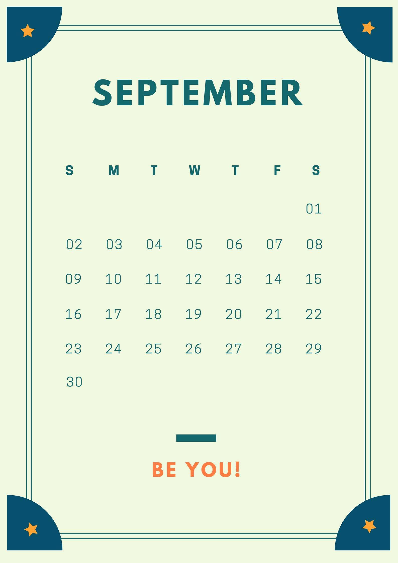 september 2018 simple iphone calendar Blank calendar