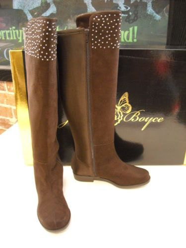 Joan-Boyce-Brown-Studded-Angelina-Riding-Boots-NEW