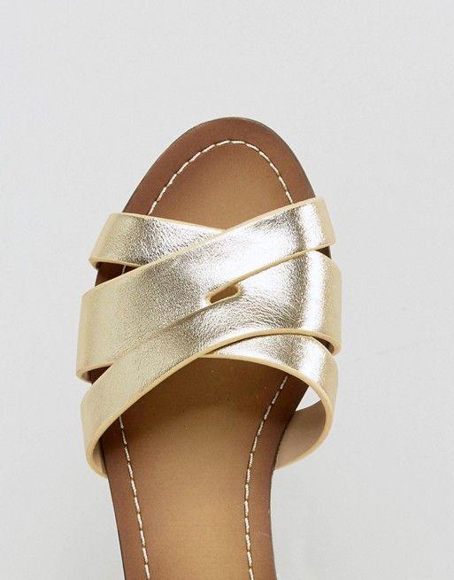 722023696 ALDO | ALDO - Rozie - Sandales plates à bride cheville - Métallisé doré