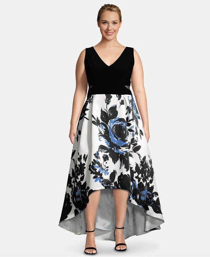 d8577a1c84b Plus Size High-Low Printed-Skirt Gown in 2019 | Products | Printed ...