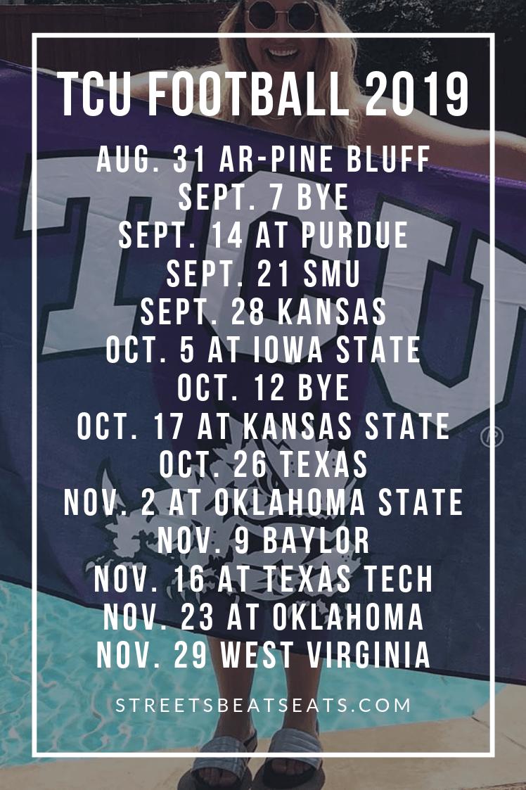 Tcu Football Schedule 2019 Tcu Football College Football Season College Colors