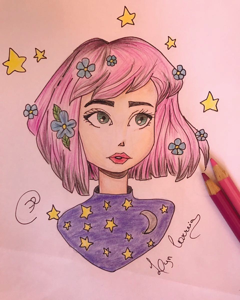 Draw Girl Tumblr Hair Colors Pink Stars Moon Purple