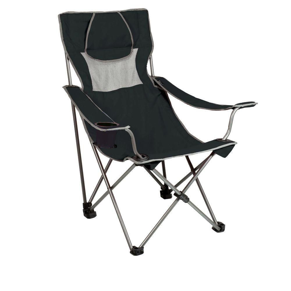 Picnic Time Campsite Folding Camp Black And Grey Patio Chair