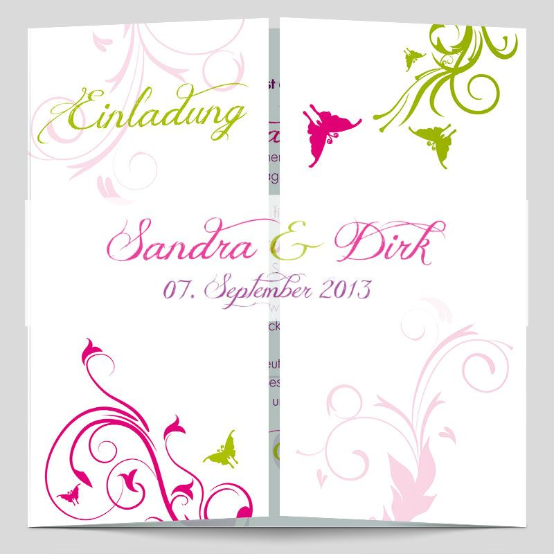 Angesagte Hochzeitseinladungen Mit Bunten Ornamenten Und Schmetterlingen.  Diese Einladungskarten Zur Hochzeit Liegen Voll Im Trend