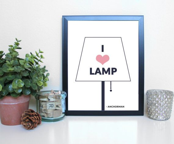 Captivating Anchorman: I Love Lamp Film Movies Typography By GreenRoomPrints