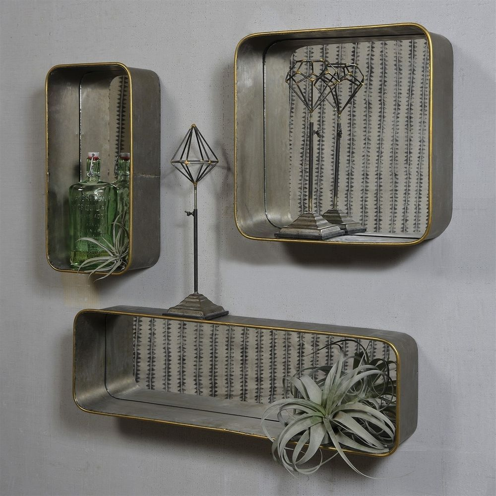 Set of galvanized mirror wall shelves unique display showcase with
