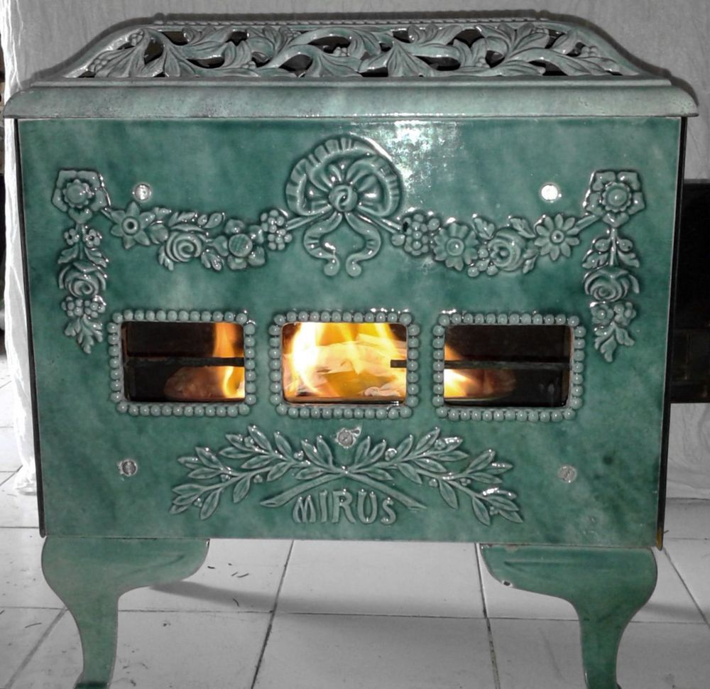 Antique FRENCH MIRUS small wood stove pale blue and pale green vitreous  enamel - Antique FRENCH MIRUS Small Wood Stove Pale Blue And Pale Green