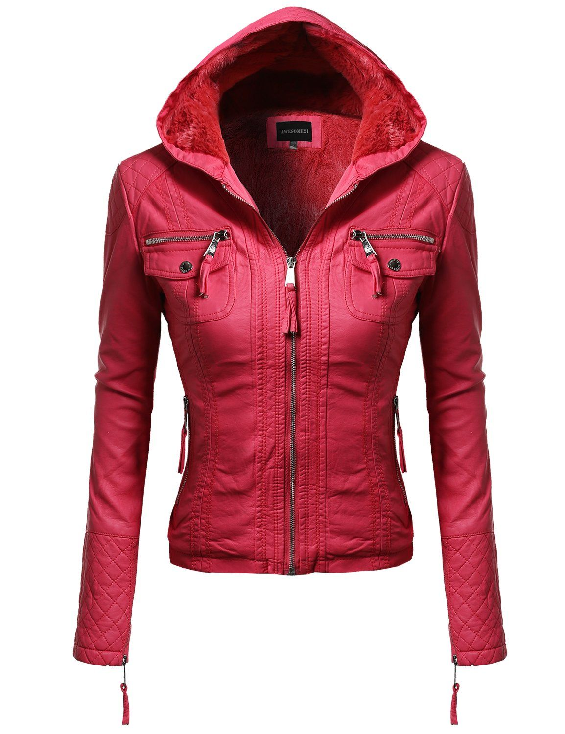 Fine quality Quilted Faux Leather Moto Jacket with Fur