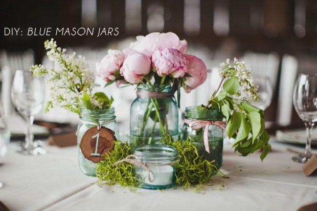 Blue mason jars DIY