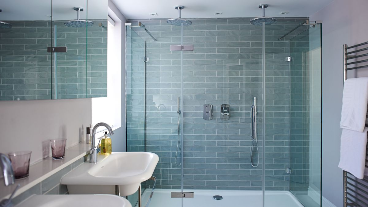Modern Double Shower with Pale Blue Tiles | bathroom ledge ...