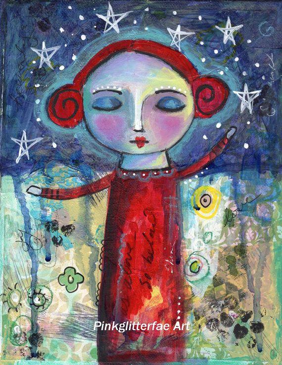 Folk Art Painting, Girl, Quirky art, Children\'s Nursery art, Wall ...